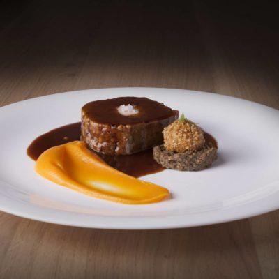 Royal de pato, foie, boniato y quinoa